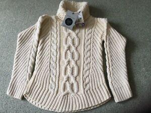 Glen Loch….British Wool…. Aran Roll Neck Jumper….Size  XS…..Brand New.
