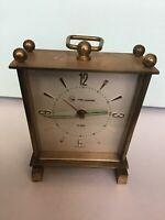 Vintage 1946 Brass Helbros Alarm Clock Company Salvest Clock Germany