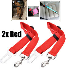 New 2x Red Adjustable Pet Car Safety Seat Belt Restraint Dog Harness Nylon Leash