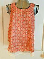 A. BYER Women's Shirt Medium Lined Tank Top Sleeveless Tangerine White Grey