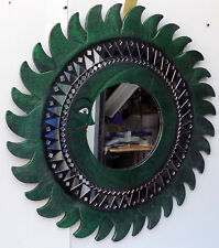Espejo sol luna verde antiguo diámetro cm 60 con mosaico de vidrio sol/luna