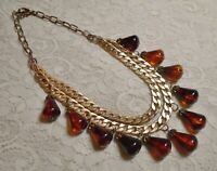 VINTAGE MULTI STRAND AMBER LUCITE BEADED DANGLE GOLD TONE CHAIN NECKLACE 19""