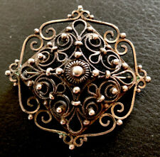 Hübsche antike große filigrane 925er Silber Brosche (k2)