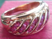 14CT YELLOW GOLD CHANNEL SET RUBY BAND RING BRAND NEW FROM QVC