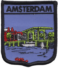 Netherlands Amsterdam City Canal Scene Shield Embroidered Patch Badge