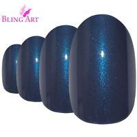 False Nails Grey Glitter Oval Medium Bling Art Fake Acrylic 24 Tips with 2g Glue