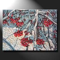 Original mosaic artwork painting porcelain winter berries snowy art GeeBeeArt