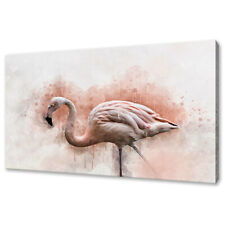BEAUTIFUL FLAMINGO BIRD WATERCOLOUR PAINTING STYLE CANVAS PRINT WALL ART PICTURE