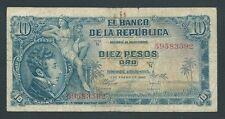 F.C. COLOMBIA , 10 PESOS ORO 1960 , B/C ( FINE ) , SUCIO , OXIDO , P.400b .