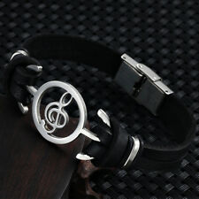 Men Fashion Jewelry Stainless-Steel Music Note Genuine Leather Bracelet Bangle