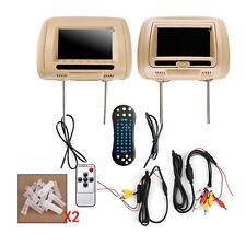 "Pair 7"" HD Digital Car Headrest Monitor USB TV IR SD HDMI Video Game DVD Player"