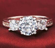 3 Ct Diamond 925 Sterling Silver Three Stone Wedding Engagement Ring Size 5-9