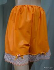 VINTAGE SILKY BRIGHT ORANGE NYLON FRENCH KNICKERS - LACE TRIM - Med
