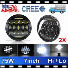 2X CREE 7inch 75W LED Headlight H4 DRL Hi-Lo BEAM For 07-now JEEP JK Wrangler TJ