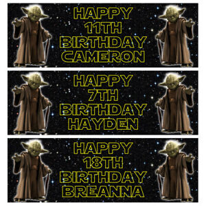YODA Personalised Birthday Banner - Star Wars Birthday Party Banner