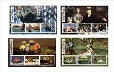 2017 EDOUARD MANET ART PAINTINGS  8 SOUVENIR SHEETS MNH UNPERFORATED