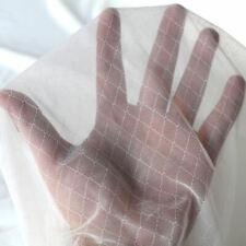Designer Netz-Stoff  mit Stretch feine zarte transparente Meterware creme Raute