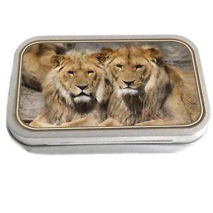 Lions Design Slim Hinged 1oz Tin Tobacco Storage Pill Box Fishing Jewellery