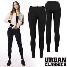 Urban Classics Mujeres Logo Leggings Deporte Yoga Leggings Pantalones Negro