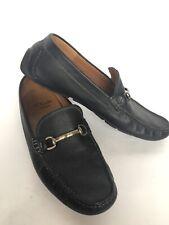 Clarks Sz 10.5 Black Pebbled Leather Slip-On Driving Mocs Loafers Horsebit