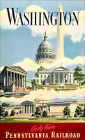 Washington DC 1935 Pennsylvania Railroad Vintage Poster Print Retro Travel Art