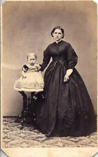 CDV PORTRAIT OF WOMAN IN STUNNING DRESS W/ BABY   STAMP ON BACK - LANCASTER, PA