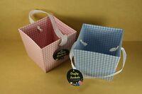 "Paper / Cardboard GINGHAM Checkered  Favor Bucket w/ Ribbon Handle 4"" x 5"""