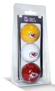 Kansas City Chiefs 3 Pack Golf Balls [NEW] NFL White Golfing Pk Ball