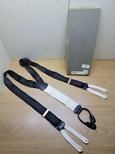 Trafalgar Men's Suspenders Braces Black With White Pinstripes New Damage Box