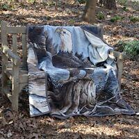 IBENA Wildlife Soft and Plush Jacquard Woven Cotton Blend Throw Blanket Eagle