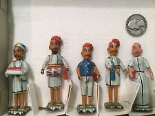 VINTAGE LOT 5 ARAB MIDDLE EAST MEN HAND PAINTED FIGURINES SUPER RARE TOYS WOOD A