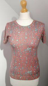 "AnitaViola UK 12 38"" Chest Leopard Print Jumper Short Sleeve Silk/Cashmere"