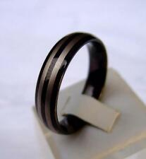 Wolfram/Tungsten Carbide anillo 6 mm de ancho negro recubierto rayas Design
