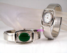 Vintage Deco Silver Green MALACHITE Agate Fob Flip Spinner Ladies Bangle Watch