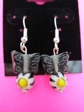Butterfly Glass Earrings 925 Sterling Silver Black