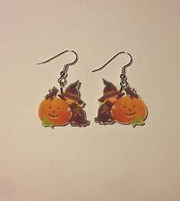 Witch Earrings Little Girl Pumpkin Halloween Cat Charms