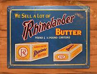 "TIN SIGN ""Rhinelander Butter"" Kitchen Advertising Rustic Wall Decor"