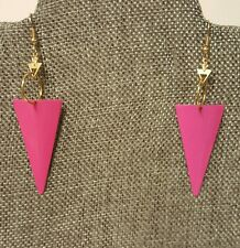 Earrings with Gold Tone Arrow Hardware Reduced Retro Hot Pink Triangle Drop