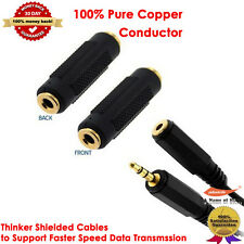 Gold Short Stereo Headphone 3.5 mm AUX Audio Extension Cable Coupler Adapter