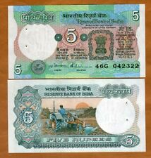 India,  5 Rupees, (1975), P-80q, Letter B, sig. 86, UNC > W/H, Plowing Tractor