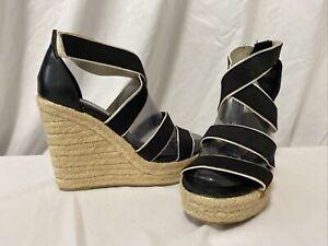 Steve Madden Women's Platforms Wedge Espadrille Sandals Black $89 Size 12 M…WS