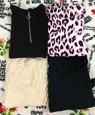Womens juniors mixed top lot size small / medium black tan pink cheetah casual