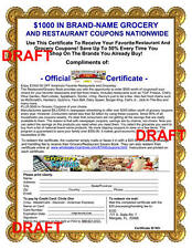 Grocery and Restaurant Savers Book Certificate (worth up to $1000)