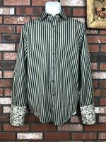Men's Black Brown 1826 Dress Shirt  Multi Color Striped French Cuff Size Medium