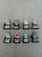 8 Custom Clone Trooper Minifigures Star Wars Building Blocks. Lego compatible.