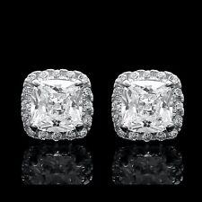 2CT Cushion & Round Cut Created Diamond Stud Square Earrings 14k White Gold