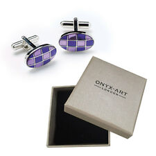 Mens Oval Purple Checkered Cufflinks & Gift Box By Onyx Art