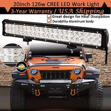 20INCH 126W CREE Led Light Bar Flood Spot Work Driving Fog Offroad 4WD Truck ATV