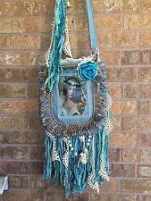 handmade gypsy fringe messenger sling bag cross body purse art nouveau hippie