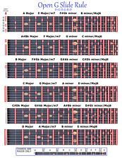OPEN G SLIDE RULE CHART - DGDGBD - 6 STRING LAP PEDAL STEEL DOBRO SLIDE GUITAR
